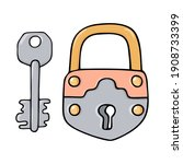 Colorful Antique Padlock With...