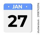isolated 27 january calendar... | Shutterstock .eps vector #1908742096