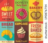bakery posters set with flat... | Shutterstock .eps vector #190876754