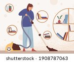 young woman cleaning home with... | Shutterstock .eps vector #1908787063