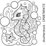 Cartoon Cute Seahorse  Coloring ...