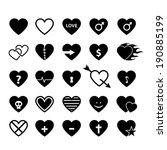 Vector Set Of Heart Icons.