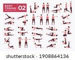 women workout set. women doing... | Shutterstock .eps vector #1908864136