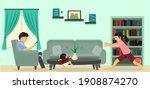 family spending time at home.... | Shutterstock .eps vector #1908874270