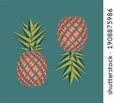 two colorful pineapples. vector ... | Shutterstock .eps vector #1908875986