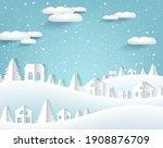 winter paper origami landscape...   Shutterstock .eps vector #1908876709