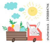 vector easter truck icon with... | Shutterstock .eps vector #1908884746