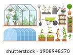 greenhouse eco farm agriculture ... | Shutterstock .eps vector #1908948370