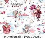 romantic watercolor seamless... | Shutterstock . vector #1908964369