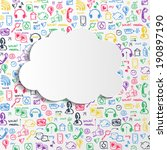 social media doodle background... | Shutterstock .eps vector #190897190