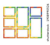 set of colorful wooden frames.... | Shutterstock .eps vector #1908990526
