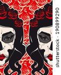 sugar skull girl face day of... | Shutterstock .eps vector #190899290