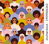 female diverse faces of... | Shutterstock .eps vector #1909006363
