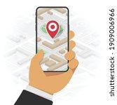 mobile navigation or maps app... | Shutterstock .eps vector #1909006966