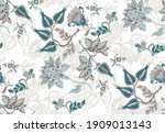 flowers and leaves in vintage... | Shutterstock .eps vector #1909013143