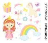 cute fairytale set with little...   Shutterstock .eps vector #1909029616