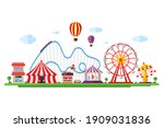 amusement park with circus... | Shutterstock .eps vector #1909031836