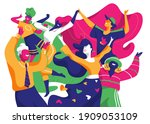 a group of smiling happy... | Shutterstock .eps vector #1909053109