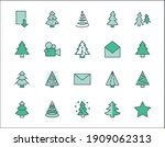 christmas tree thin line icon... | Shutterstock .eps vector #1909062313