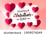 red heart of happy valentines... | Shutterstock .eps vector #1909074049