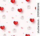 hearts balloons and gift boxes... | Shutterstock .eps vector #1909080646