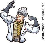 strong evil scientist posing... | Shutterstock .eps vector #1909081240