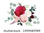 burgundy red peony  dusty pink... | Shutterstock .eps vector #1909085989