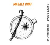 masala chai sketch  indian food.... | Shutterstock .eps vector #1909112359