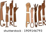 girl power asl diverse american ...   Shutterstock .eps vector #1909146793