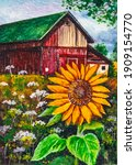 Farm Red Barn And Sunflower....