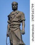 Small photo of Monument to Lacador, Porto Alegre, Rio Grande do Sul State, Brazil on August 11, 2008. The statue represents the gaucho with typical costumes and a bow in his hand, a cultural symbol of the state.