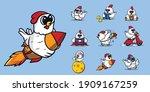 set of cute chicken mascot logo ... | Shutterstock .eps vector #1909167259