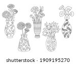 Set Of Vases With Flowers...