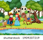 scene with prince and princess... | Shutterstock .eps vector #1909207219
