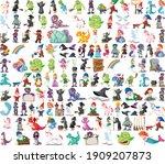 set of fantasy cartoon... | Shutterstock .eps vector #1909207873