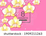 beautiful yellow orchid. happy... | Shutterstock .eps vector #1909211263