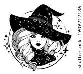 monochrome cute witch wearing... | Shutterstock .eps vector #1909212136