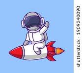 cartoon astronaut is riding a...   Shutterstock .eps vector #1909240090