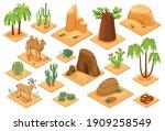 desert elements isometric set... | Shutterstock .eps vector #1909258549