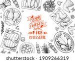 chicken dinner. grilled and... | Shutterstock .eps vector #1909266319