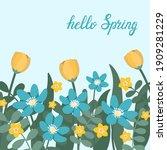 hellow spring card. design... | Shutterstock .eps vector #1909281229