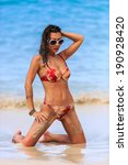 sexy slim woman posing on the... | Shutterstock . vector #190928420