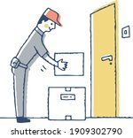 the deliveryman puts the... | Shutterstock .eps vector #1909302790