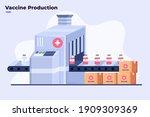 flat illustration of covid 19... | Shutterstock .eps vector #1909309369