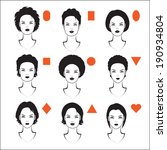 vector  womens head, types of face shape,