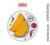dosa sketch  indian food. hand... | Shutterstock .eps vector #1909352956