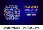 transport logistics neon banner ...   Shutterstock .eps vector #1909359196
