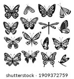butterfly. silhouette icons set ... | Shutterstock .eps vector #1909372759