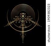 gold vegvisir magic navigation... | Shutterstock .eps vector #1909382323