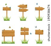 set of wooden signs in a grass... | Shutterstock .eps vector #190938674